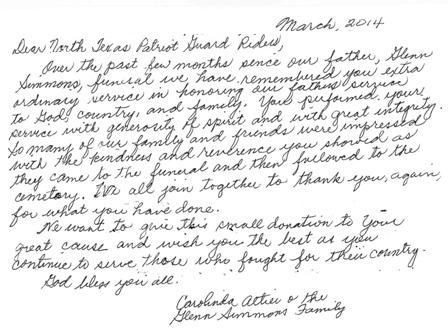 Letters of appreciation march 2014 dear north texas patriot guard riders over the past few months since our father glenn simmons funeral we have remembered your extra spiritdancerdesigns Images
